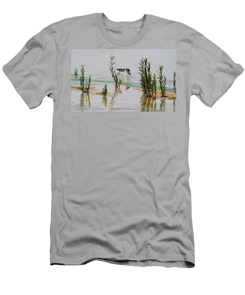 Stilts Hunting And Pecking Men's T-Shirt (Athletic Fit) featuring the photograph Stilts Hunting And Pecking by Tom Janca
