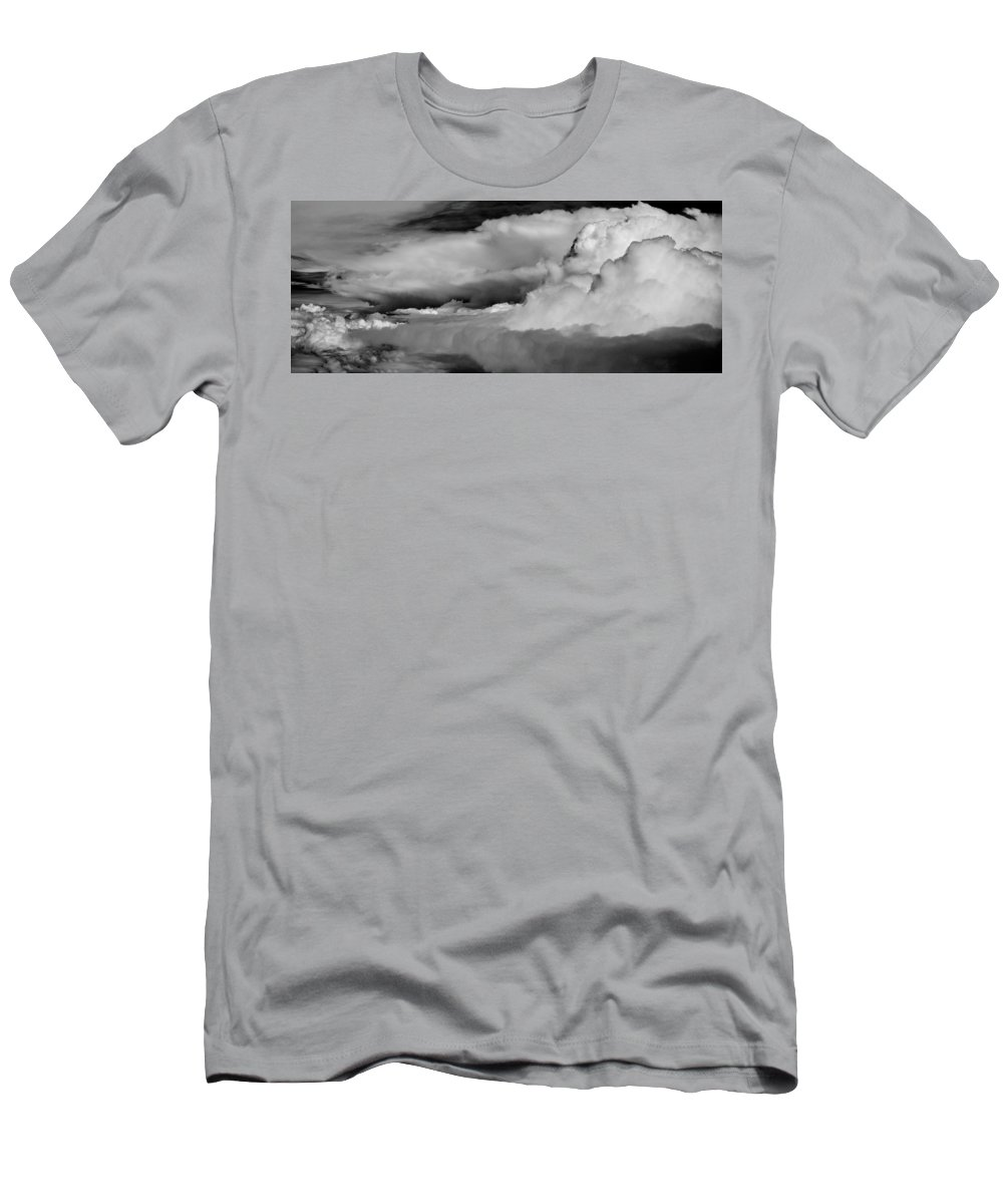 Cloud Men's T-Shirt (Athletic Fit) featuring the photograph Storms Aloft B W by Steve Gadomski