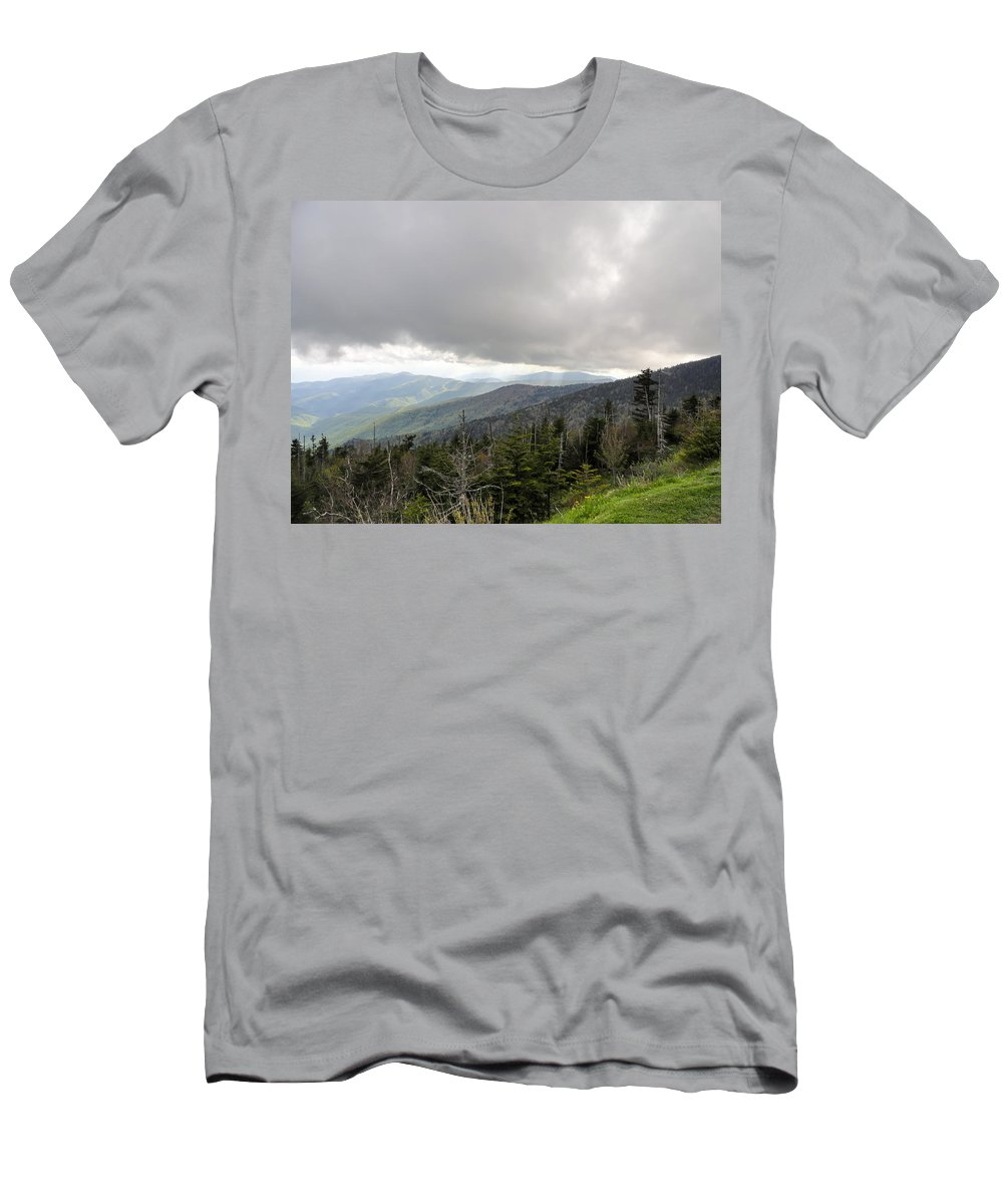 Stormy Smoky Mountains Men's T-Shirt (Athletic Fit) featuring the photograph Stormy Smoky Mountains by Cynthia Woods