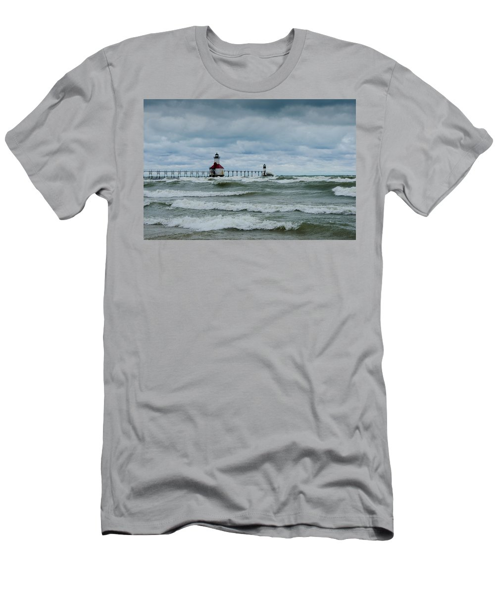 Christopher List Men's T-Shirt (Athletic Fit) featuring the photograph Stormy Waters by Gales Of November
