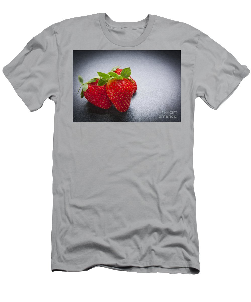 Macro Men's T-Shirt (Athletic Fit) featuring the photograph Strawberries by Tim Hester