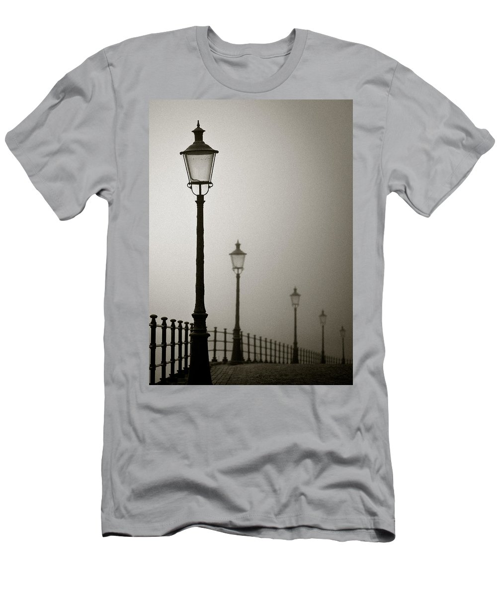 Maastricht Men's T-Shirt (Athletic Fit) featuring the photograph Street Lamps by Dave Bowman