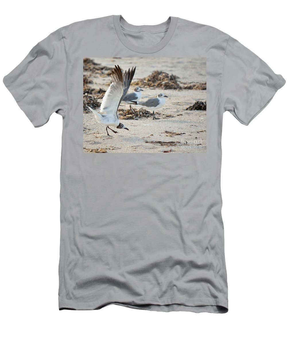 Strutting Men's T-Shirt (Athletic Fit) featuring the photograph Strutting Seagull On The Beach by Patricia Twardzik