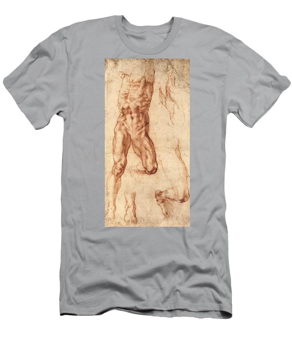 1511-1512 Men's T-Shirt (Athletic Fit) featuring the painting Studies For Haman by Michelangelo Buonarroti