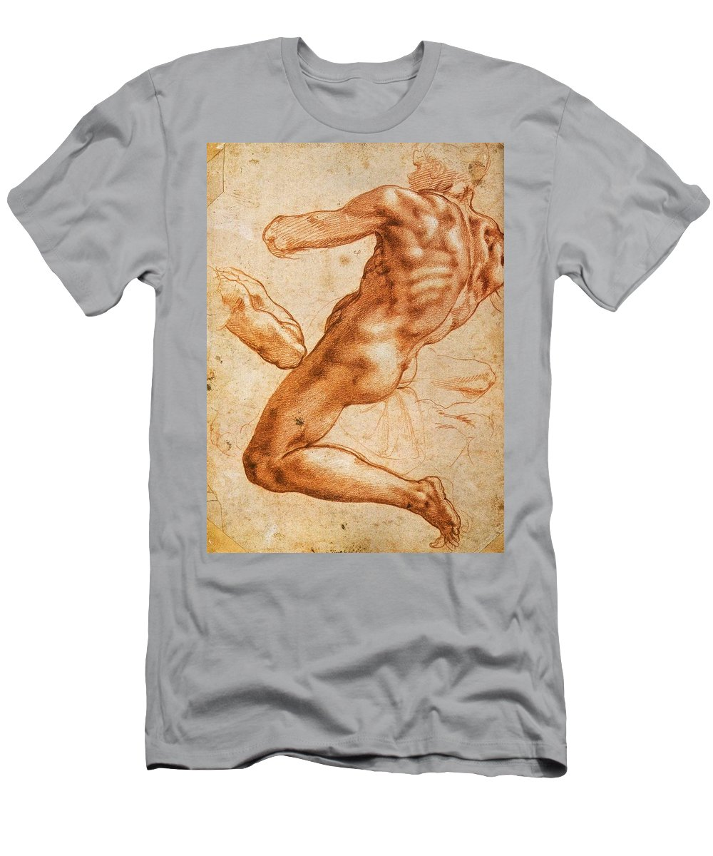 1511 Men's T-Shirt (Athletic Fit) featuring the painting Study For An Ignudo by Michelangelo Buonarroti