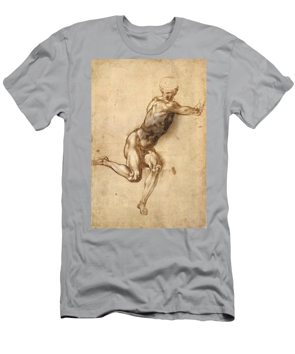 1505 Men's T-Shirt (Athletic Fit) featuring the painting Study Of Figure To Battle Of Cascina by Michelangelo Buonarroti