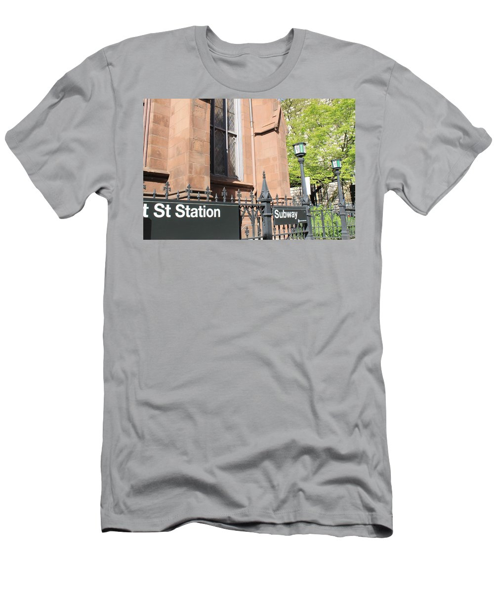 Subway Station Men's T-Shirt (Athletic Fit) featuring the photograph Subway Station In Brooklyn by Catie Canetti