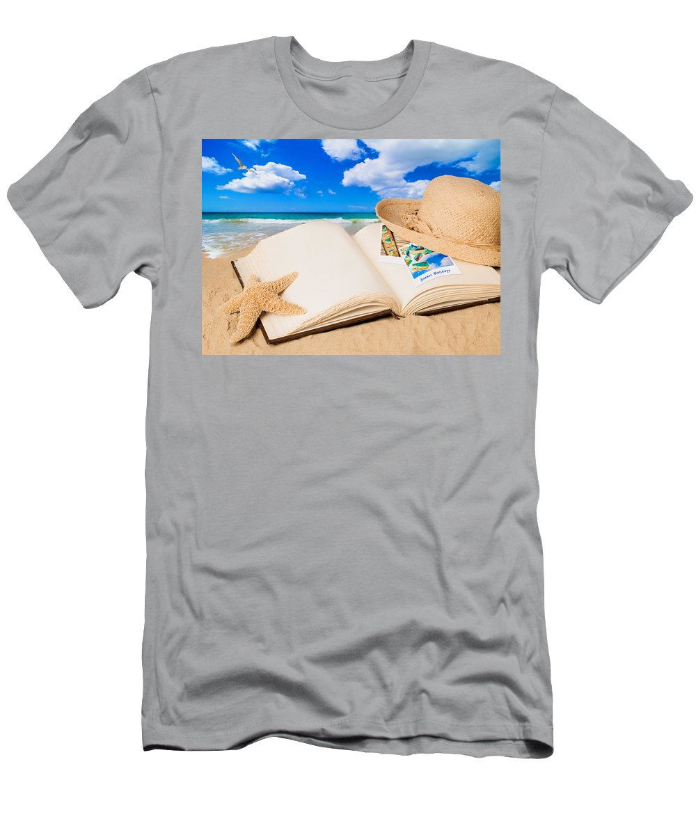 Straw Men's T-Shirt (Athletic Fit) featuring the photograph Summer Book by Amanda Elwell
