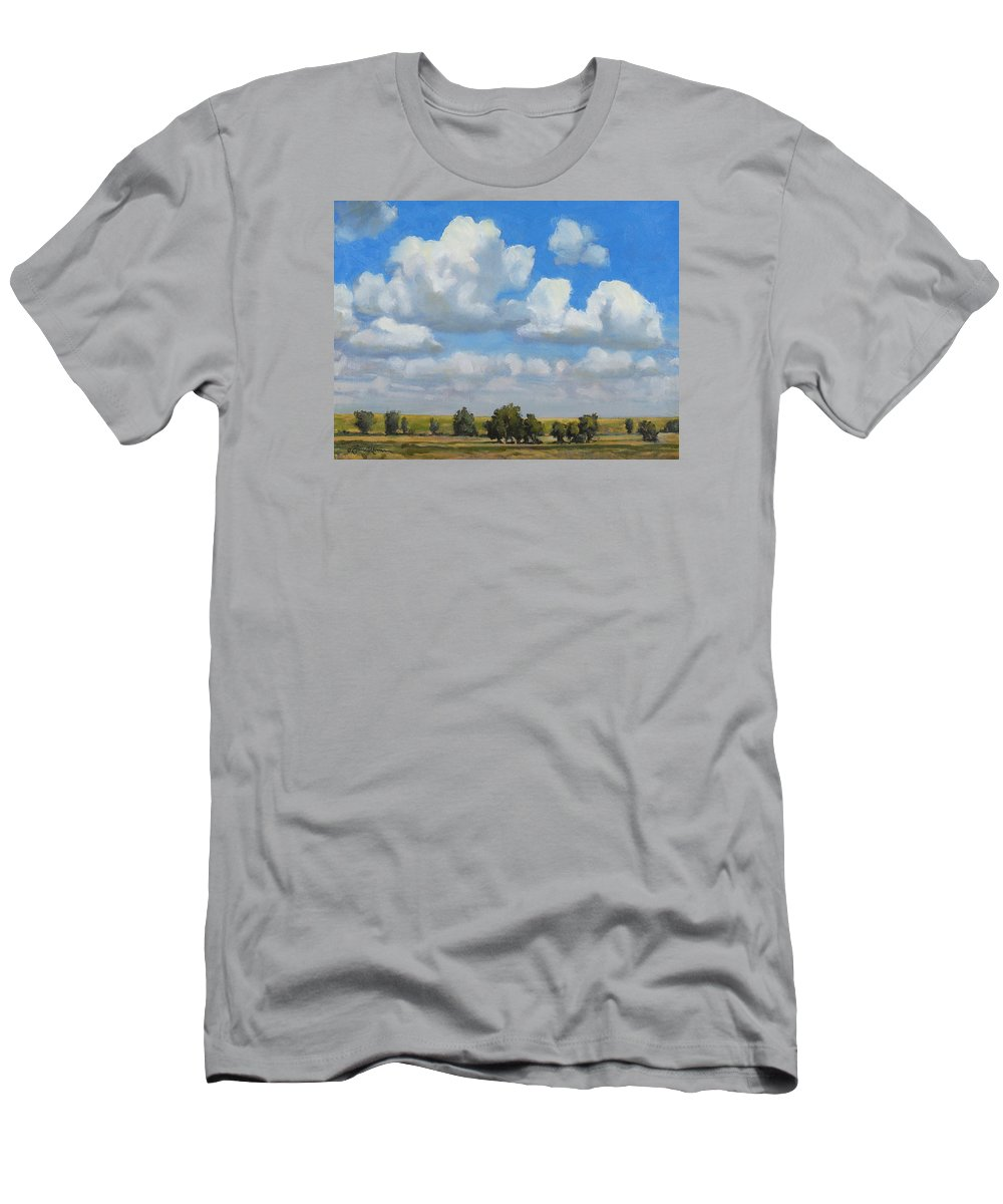 Landscape Men's T-Shirt (Athletic Fit) featuring the painting Summer Pasture by Bruce Morrison