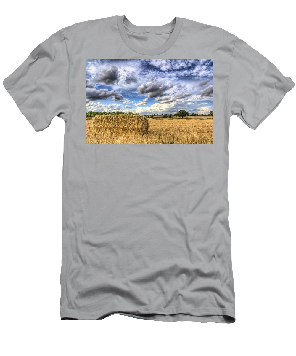 Farm Men's T-Shirt (Athletic Fit) featuring the photograph Summer Straw Bales by David Pyatt