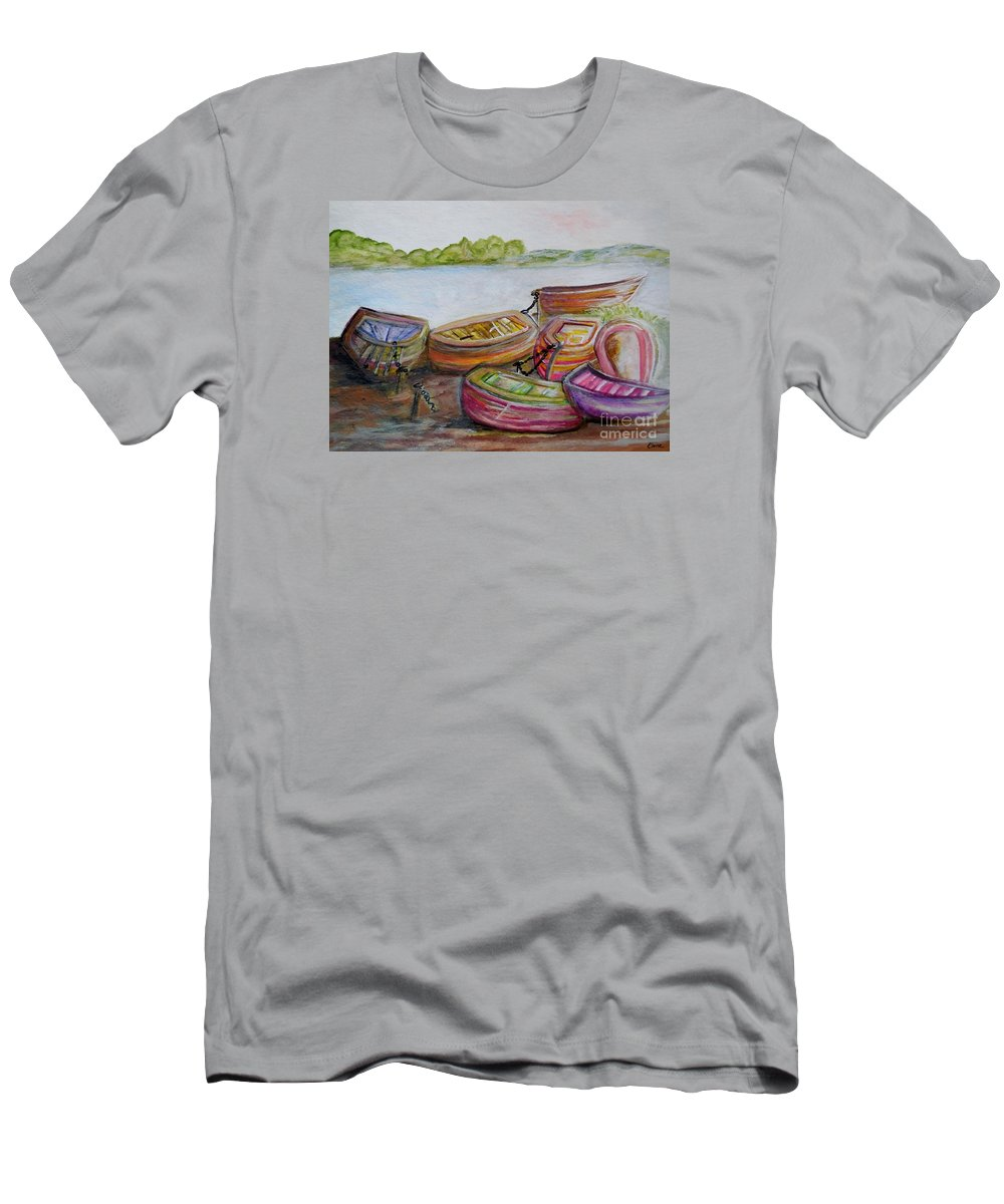 Boat Men's T-Shirt (Athletic Fit) featuring the painting Summer Sun by Eloise Schneider Mote