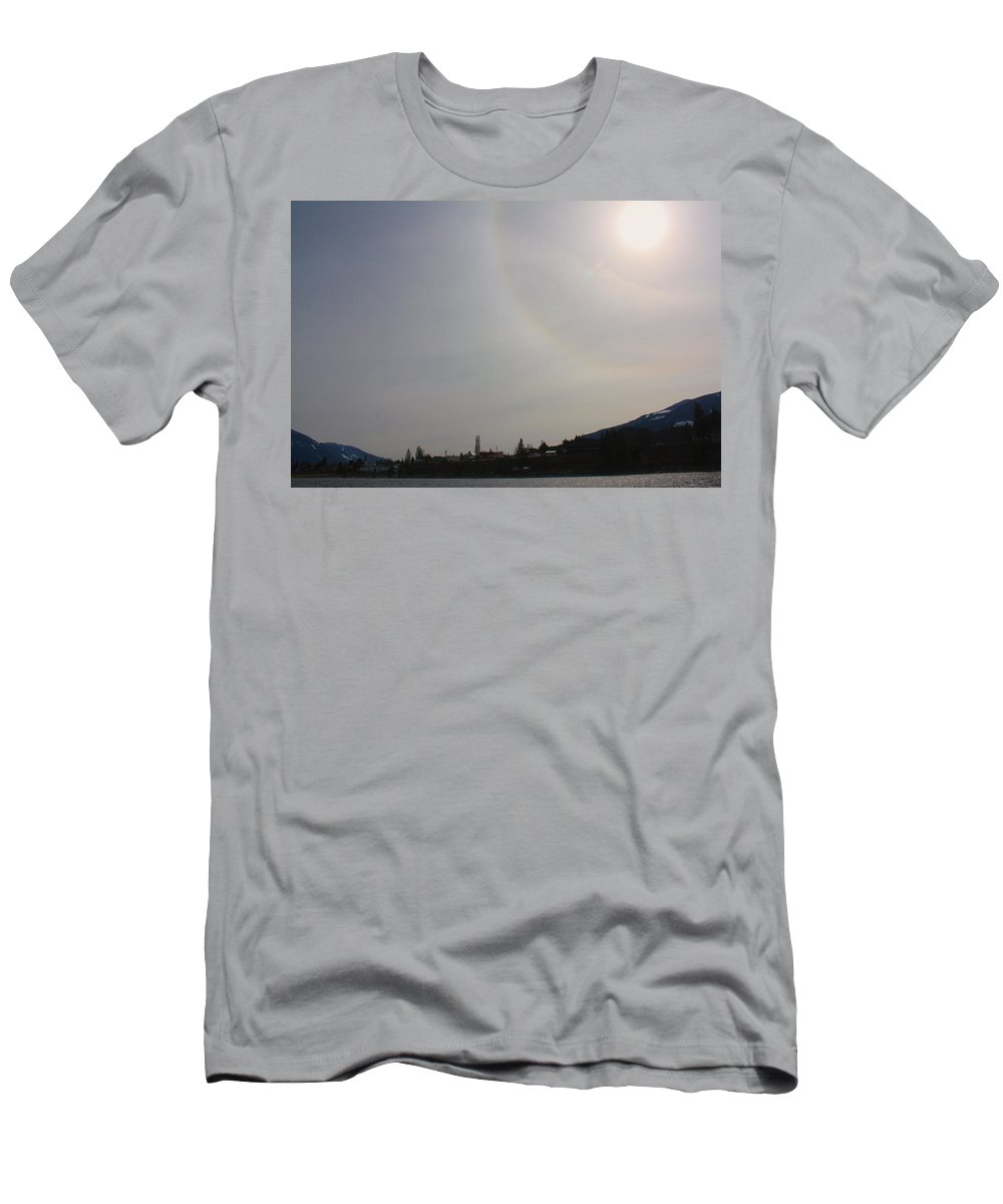 Sun Men's T-Shirt (Athletic Fit) featuring the photograph Sun Dog Over Town by Cathie Douglas
