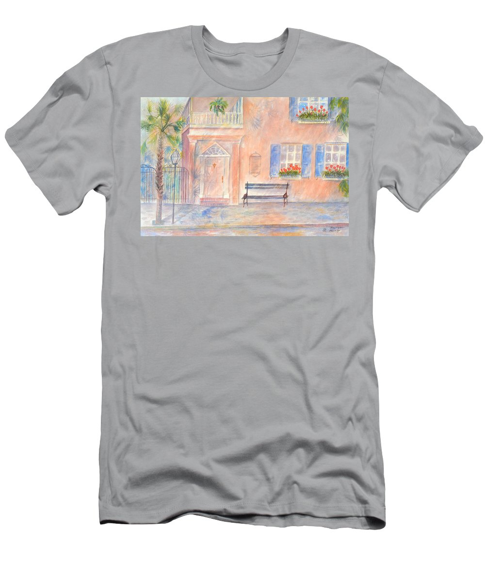 Charleston; Low Country; Palmetto Tree Men's T-Shirt (Athletic Fit) featuring the painting Sunday Morning In Charleston by Ben Kiger