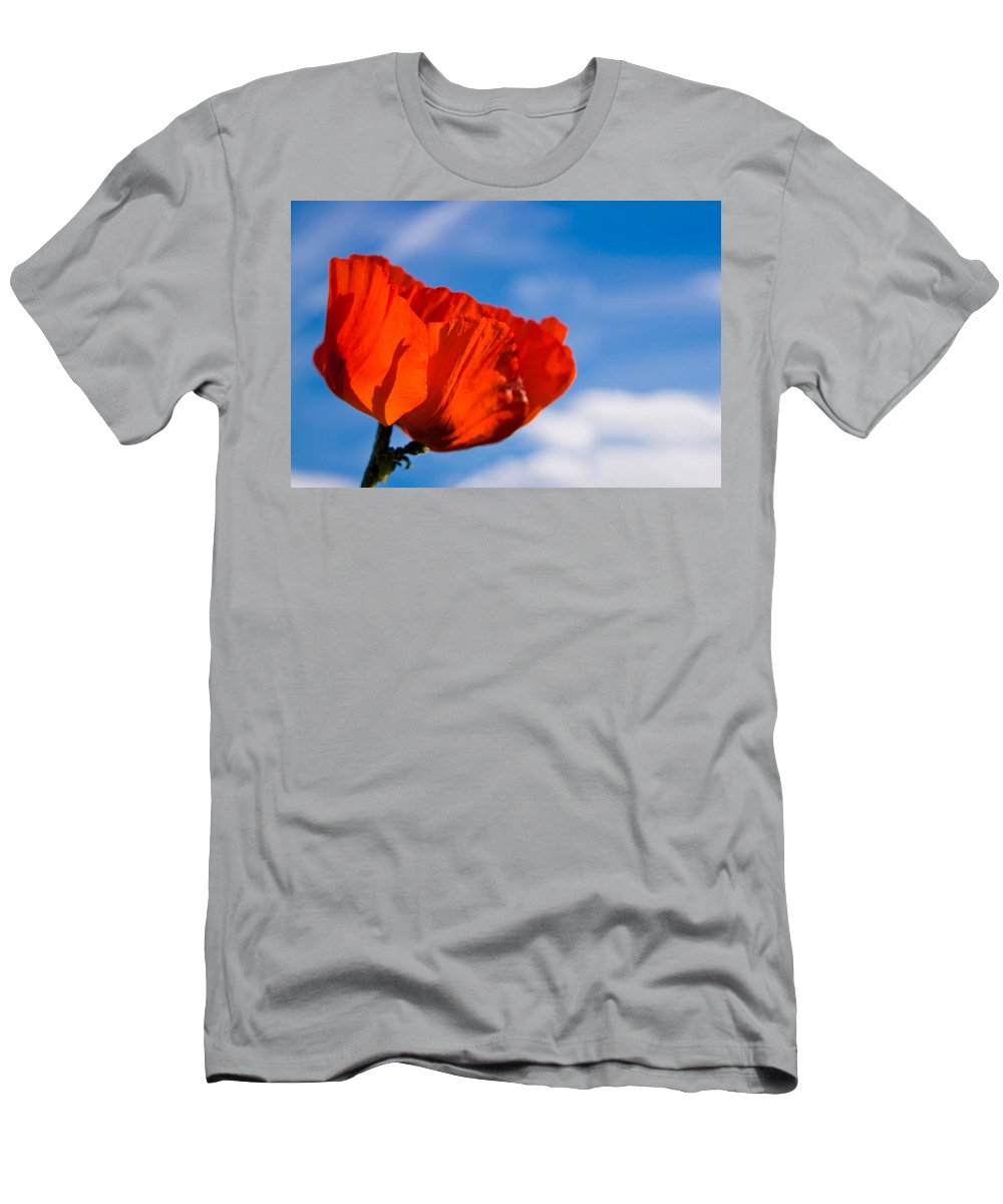 3scape Photos Men's T-Shirt (Athletic Fit) featuring the photograph Sunlit Poppy by Adam Romanowicz
