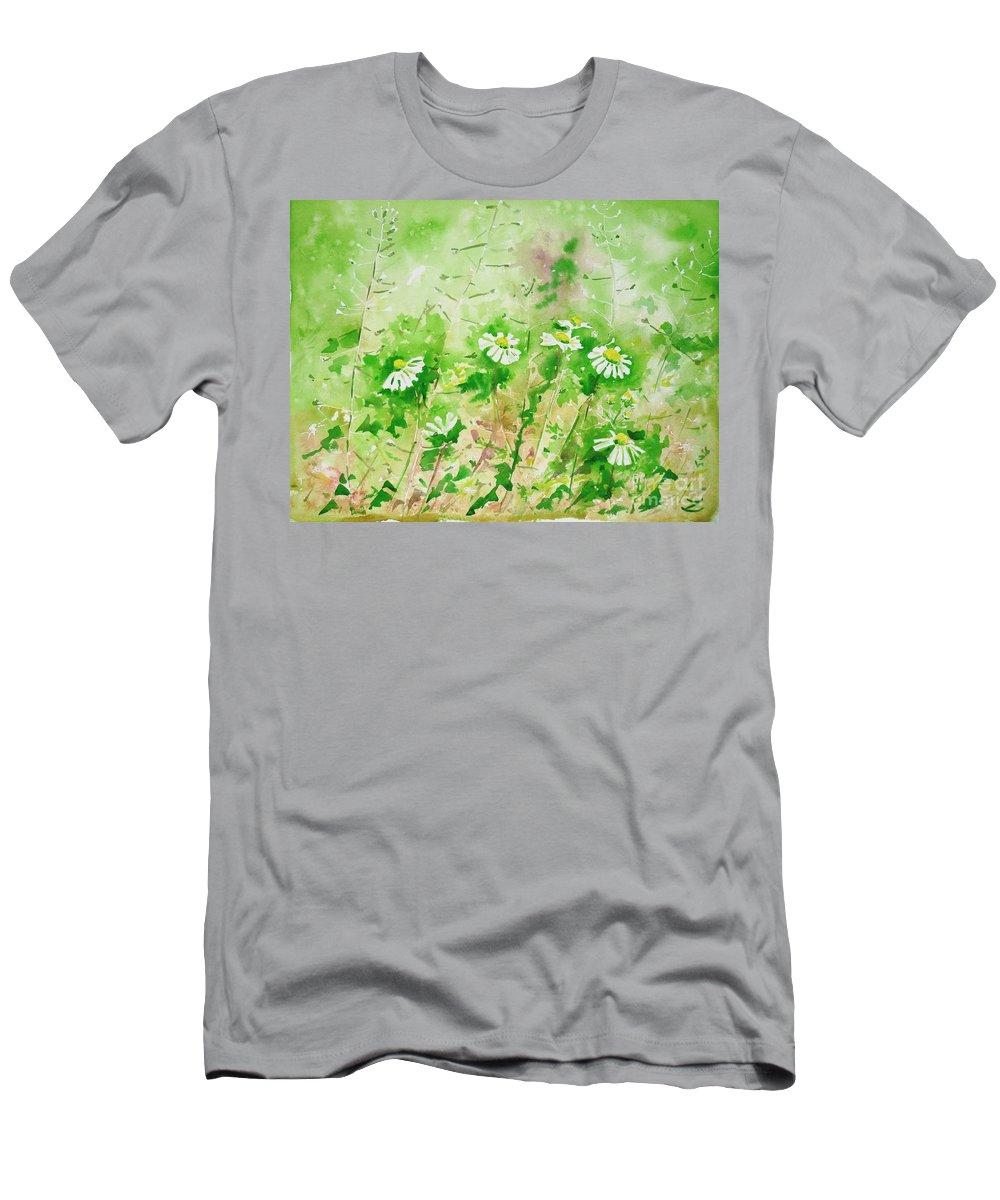 Sunny Men's T-Shirt (Athletic Fit) featuring the painting Sunny Daisies by Zaira Dzhaubaeva
