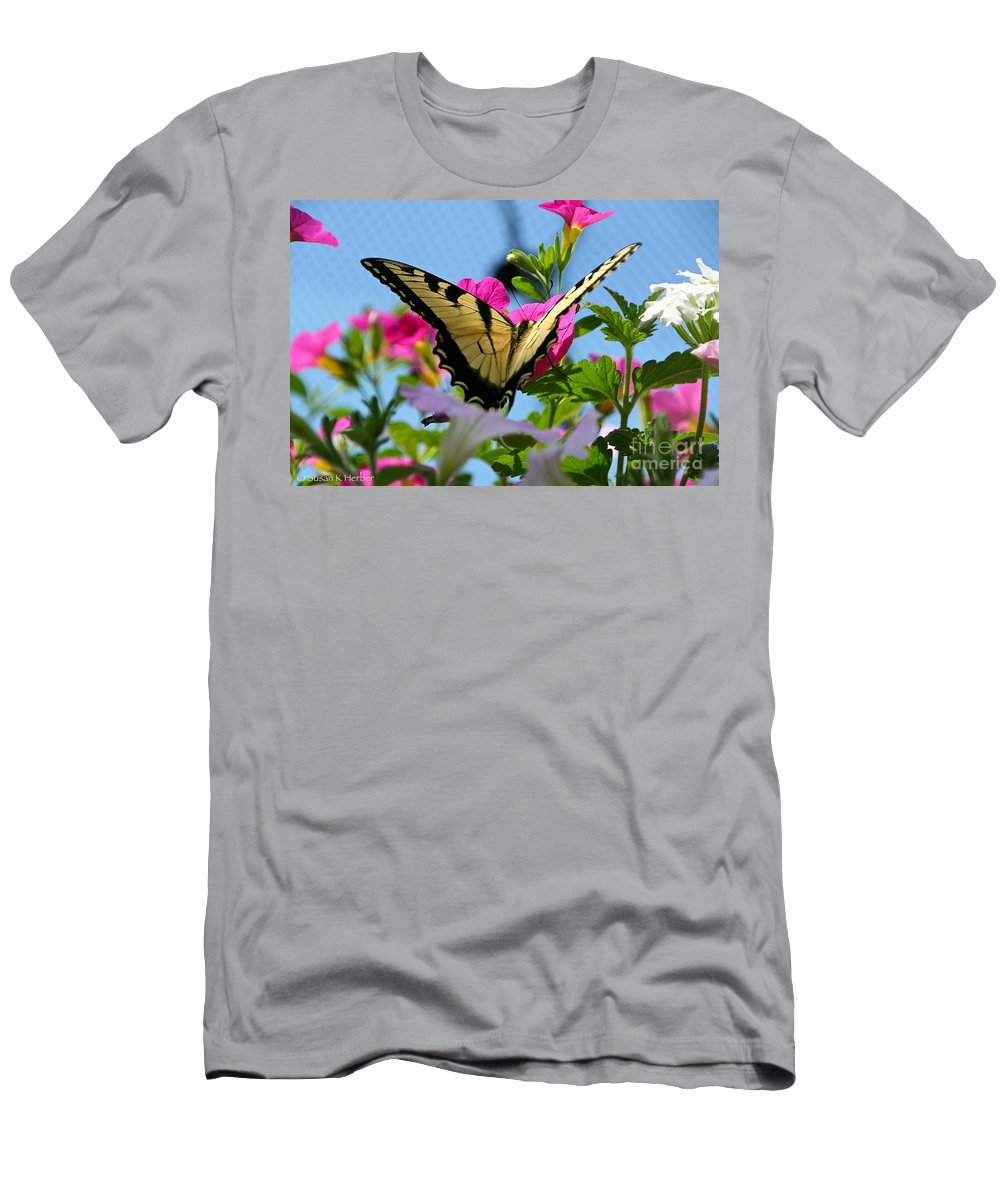 Insect Men's T-Shirt (Athletic Fit) featuring the photograph Sunny Tiger Swallowtail by Susan Herber