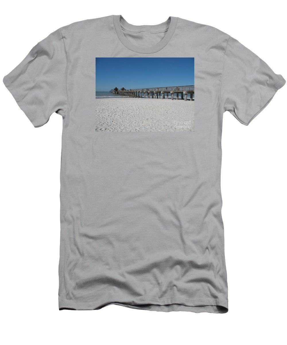 Pier Men's T-Shirt (Athletic Fit) featuring the photograph Sunny Day At Naples Pier by Christiane Schulze Art And Photography
