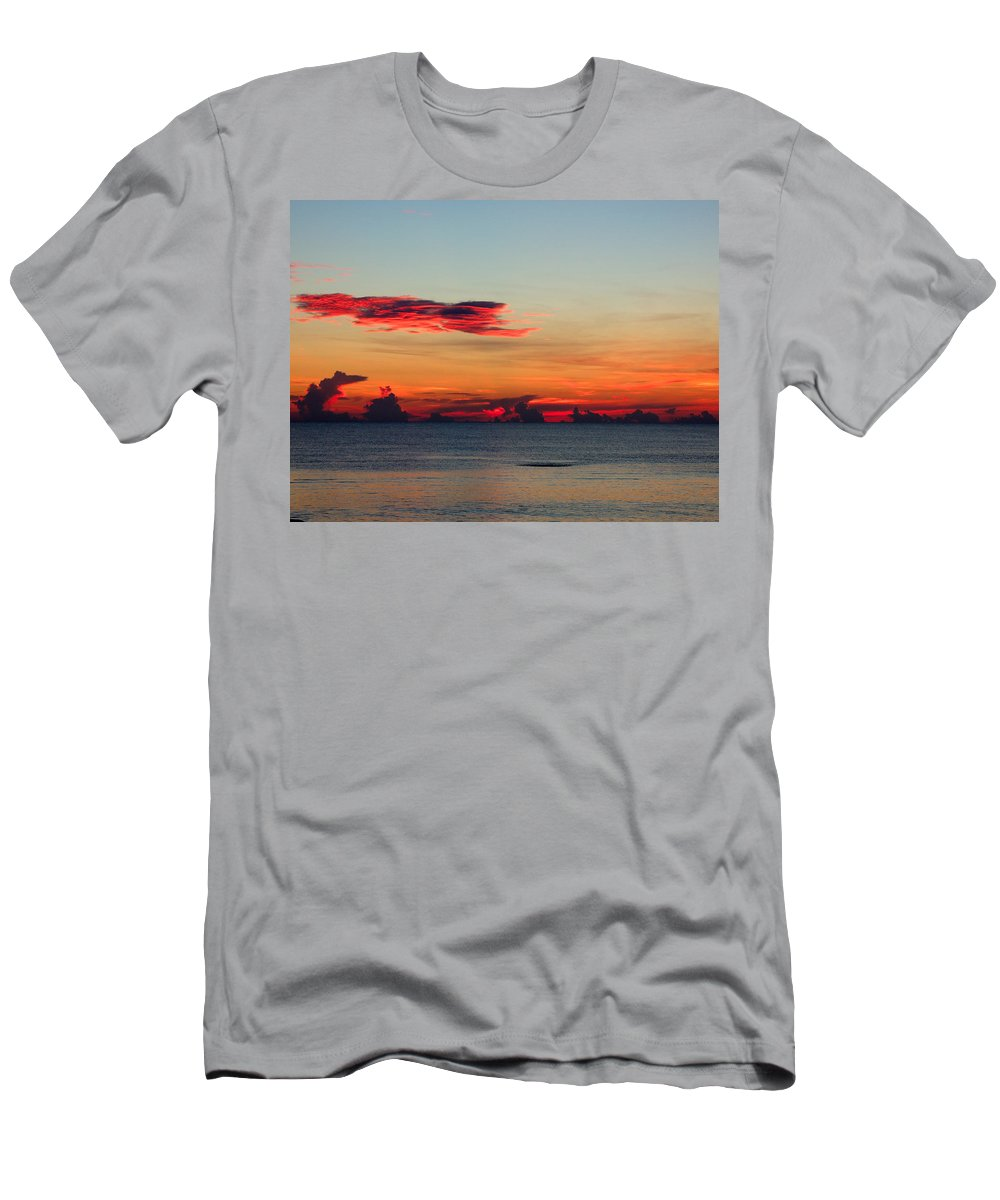 Sunrise Men's T-Shirt (Athletic Fit) featuring the photograph Sunrise On A Cloudy Morn by Marilyn Holkham