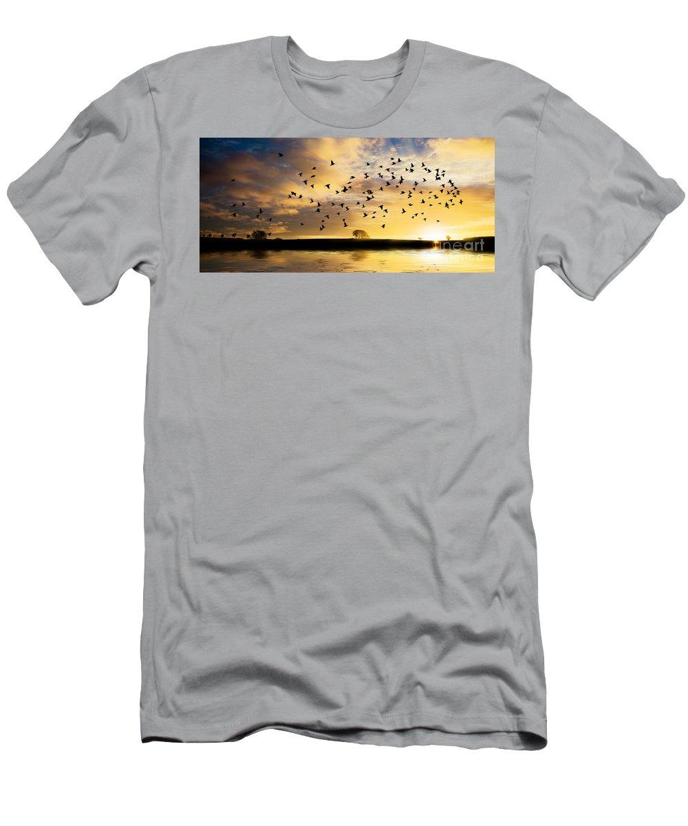 Sunrise Men's T-Shirt (Athletic Fit) featuring the photograph Birds Awaken At Sunrise by Simon Bratt Photography LRPS