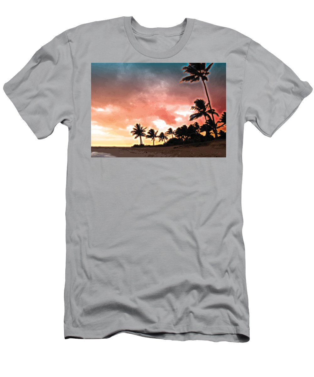 Abstract Men's T-Shirt (Athletic Fit) featuring the digital art Sunset Beach by James Kramer