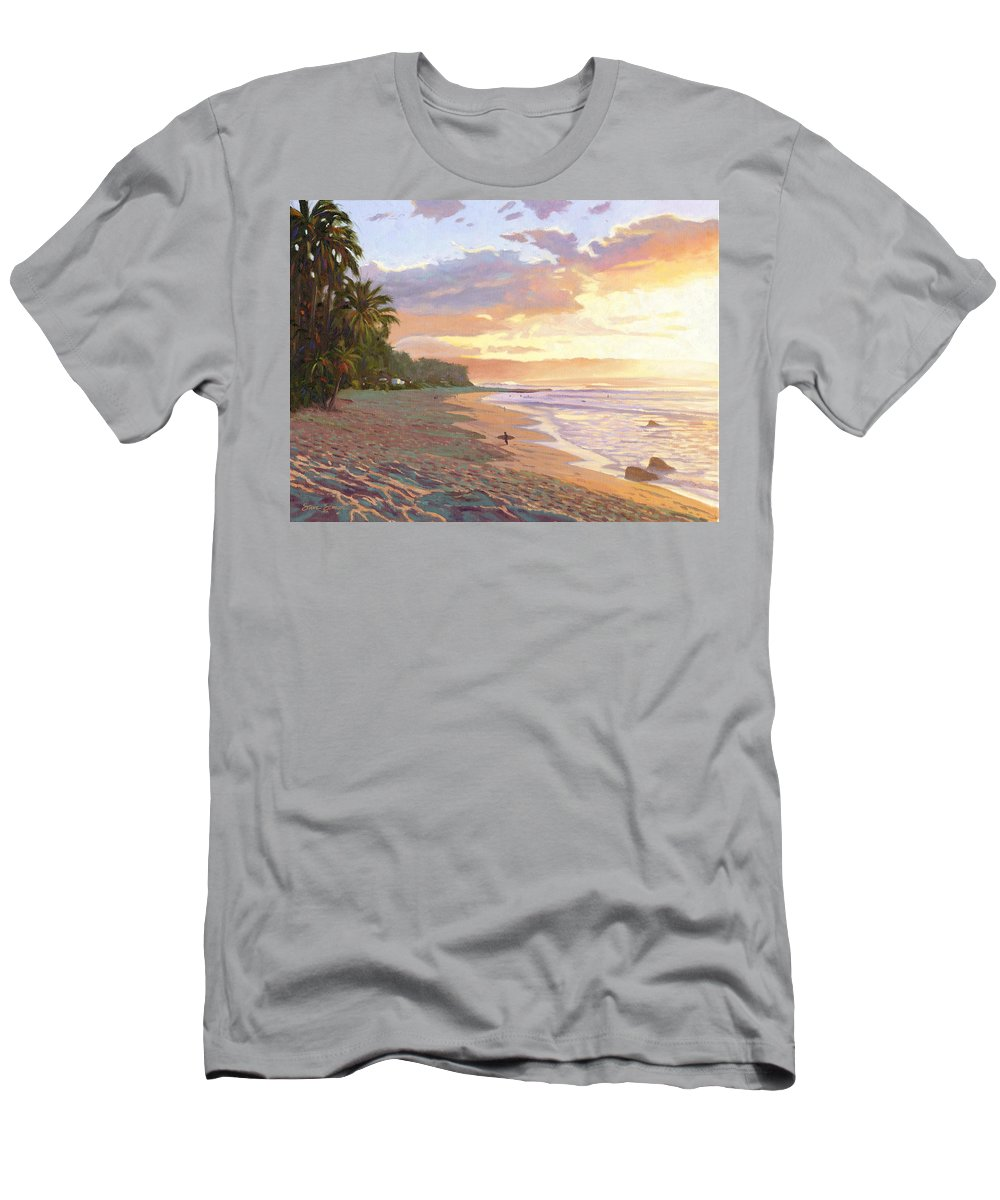 Sunset Beach Men's T-Shirt (Athletic Fit) featuring the painting Sunset Beach - Oahu by Steve Simon