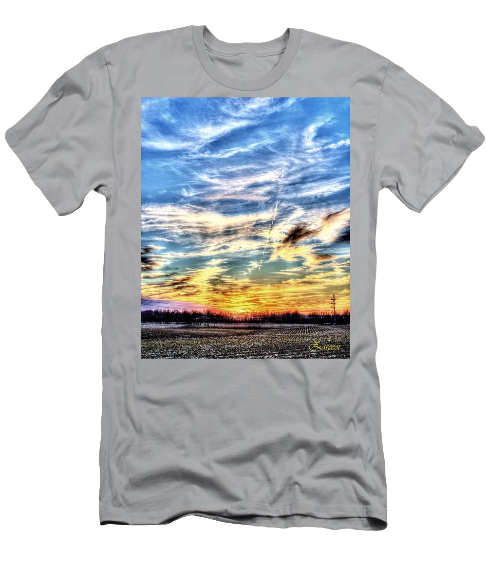Sunset Men's T-Shirt (Athletic Fit) featuring the photograph Sunset Clouds by David Zarecor