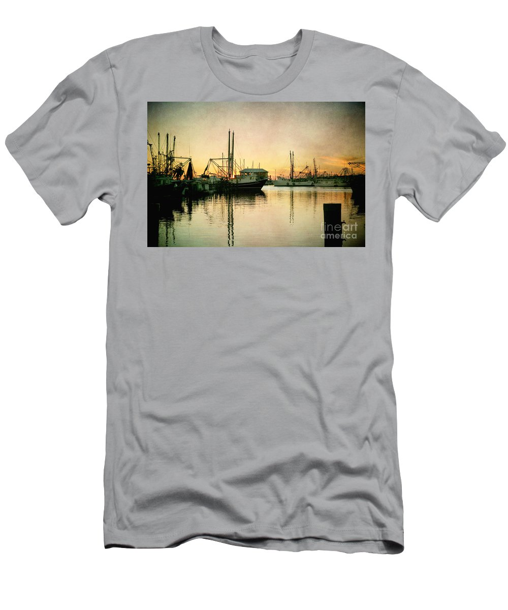 Harbor Men's T-Shirt (Athletic Fit) featuring the photograph Sunset Harbor Glow by Joan McCool