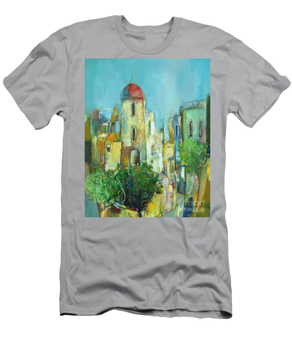 Landscape Men's T-Shirt (Athletic Fit) featuring the painting Sunset Neighborhood by Grigor Malinov
