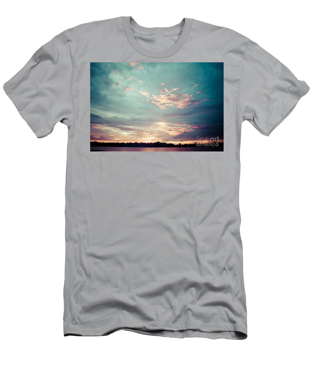 River Men's T-Shirt (Athletic Fit) featuring the photograph Sunset On The River In The Peruvian Amazon Jungle by Mariusz Prusaczyk