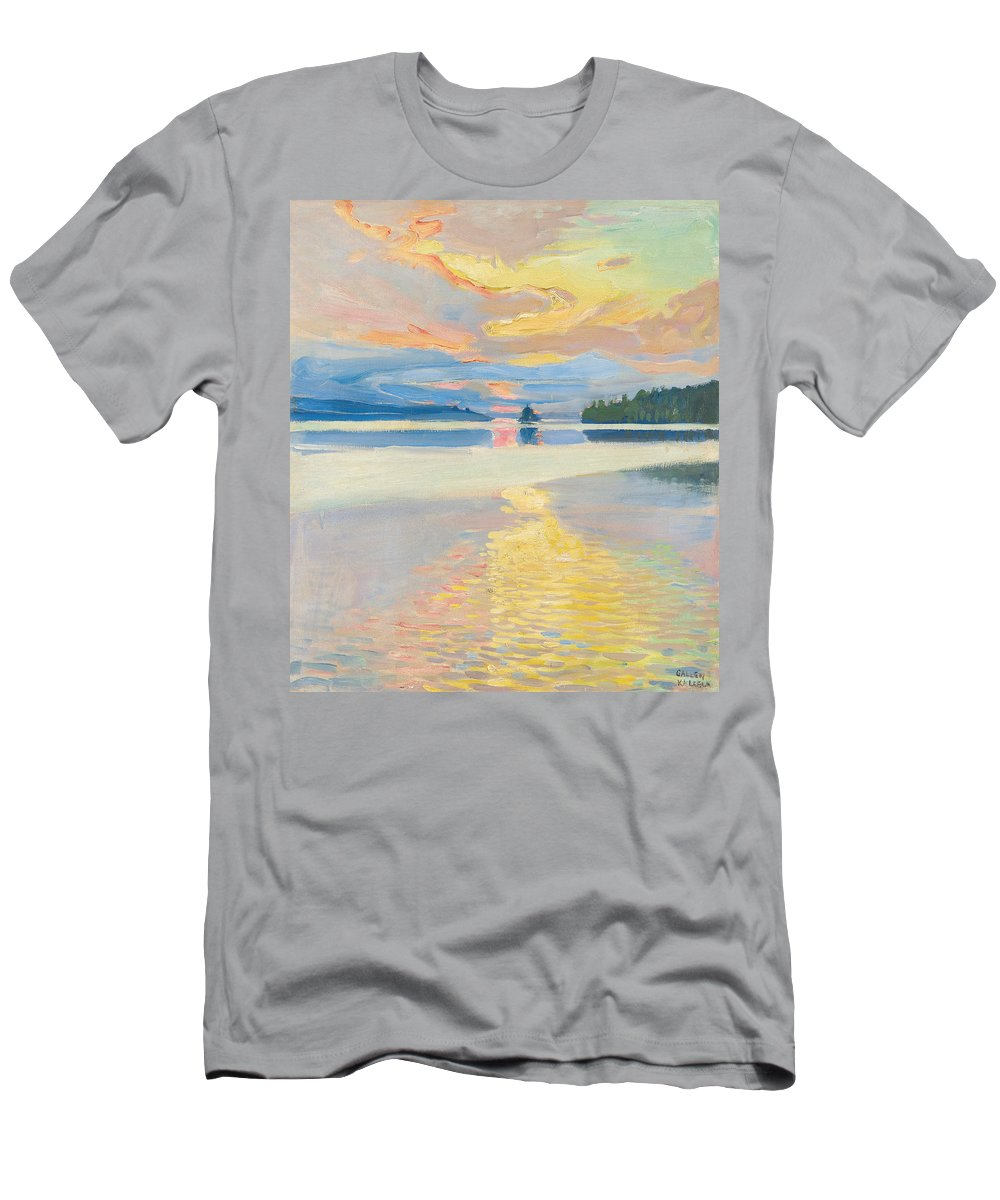 Akseli Gallen-kallela Men's T-Shirt (Athletic Fit) featuring the painting Sunset Over Lake Ruovesi by Akseli Gallen-Kallela