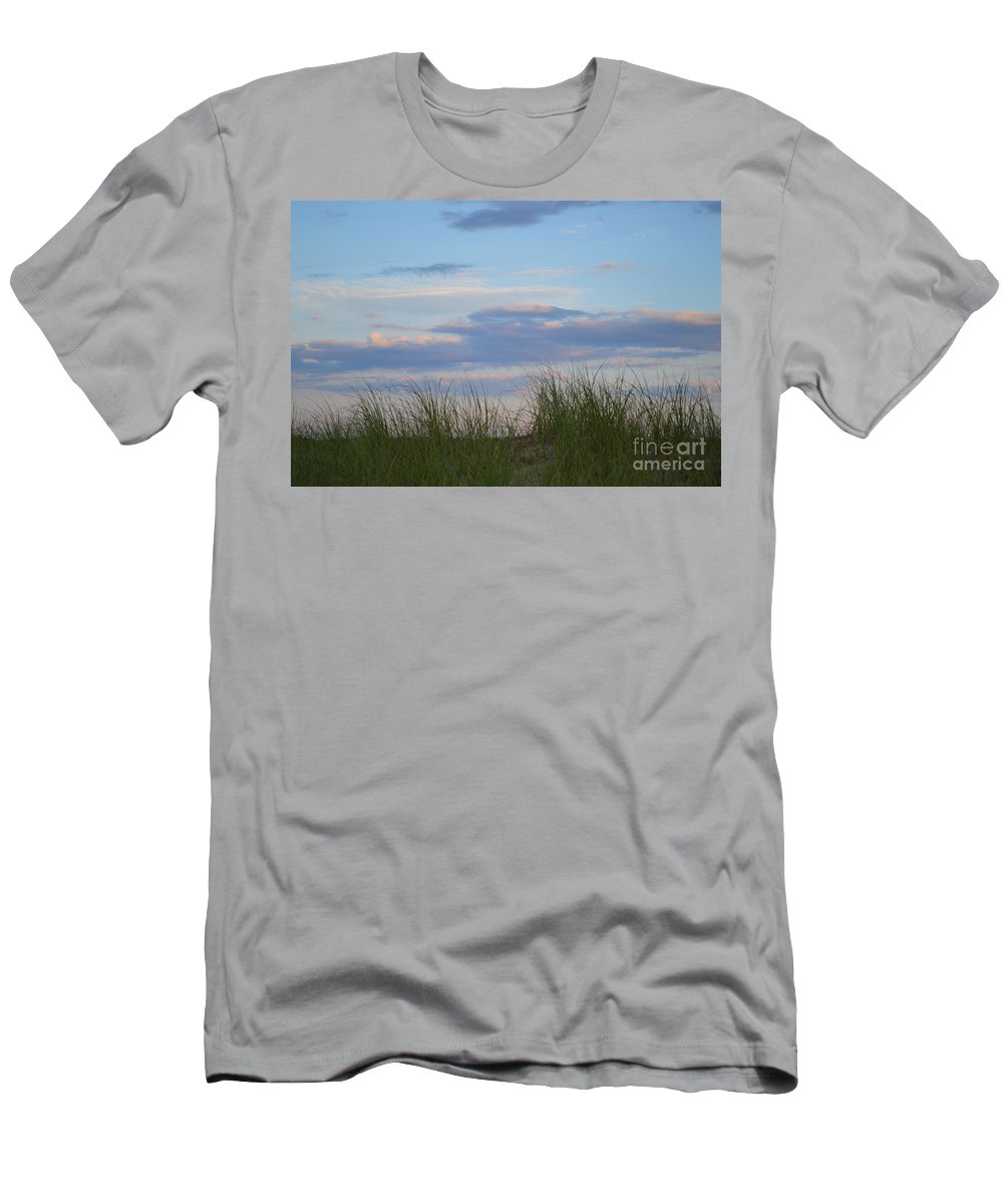 Cape Cod Men's T-Shirt (Athletic Fit) featuring the photograph Sunset Through Grass by Meandering Photography