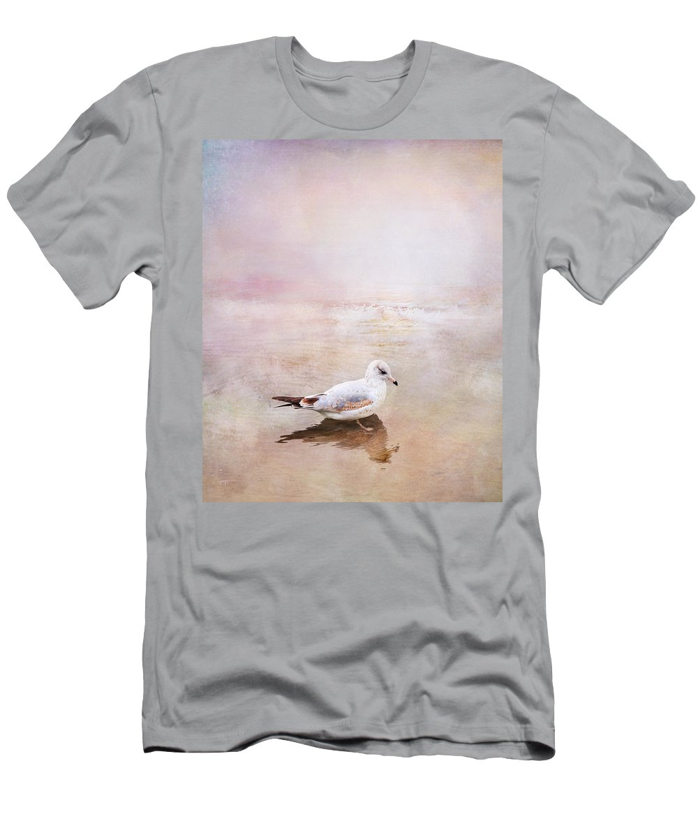 Sunset Men's T-Shirt (Athletic Fit) featuring the photograph Sunset With Young Seagull by Theresa Tahara