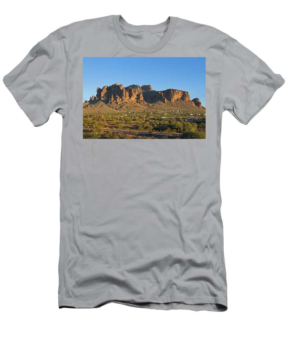 Superstition Mountain Men's T-Shirt (Athletic Fit) featuring the photograph Superstition Mountain In The Evening Sun by Tom Janca
