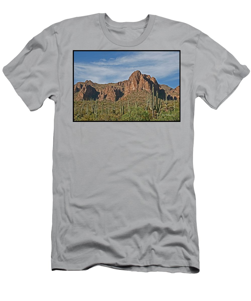 Superstition Mountains Men's T-Shirt (Athletic Fit) featuring the photograph Superstition Mountains by Tom Janca