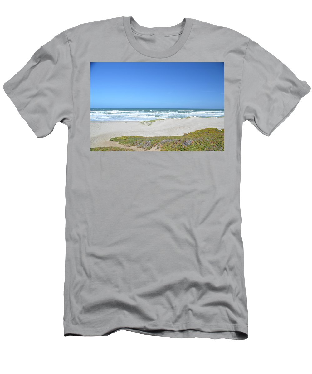Barbara Snyder Men's T-Shirt (Athletic Fit) featuring the digital art Surf Beach Lompoc California 3 by Barbara Snyder
