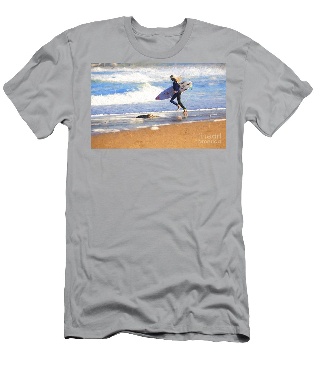 Surfer T-Shirt featuring the photograph Surfing girl by Sheila Smart Fine Art Photography