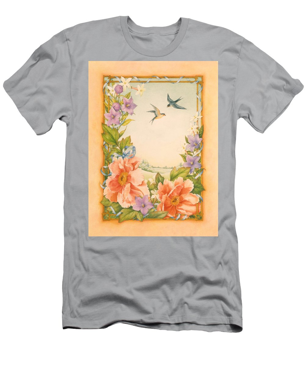 Peony Flowers Men's T-Shirt (Athletic Fit) featuring the painting Swallows And Peonies by Lynn Bywaters
