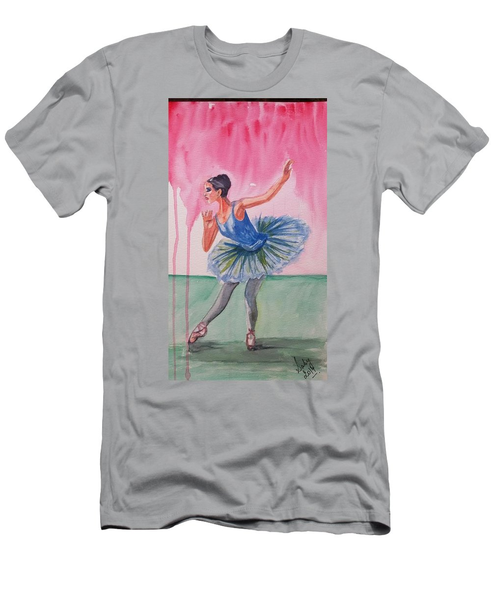Swan Men's T-Shirt (Athletic Fit) featuring the painting Swan by Sarabjit Kaur