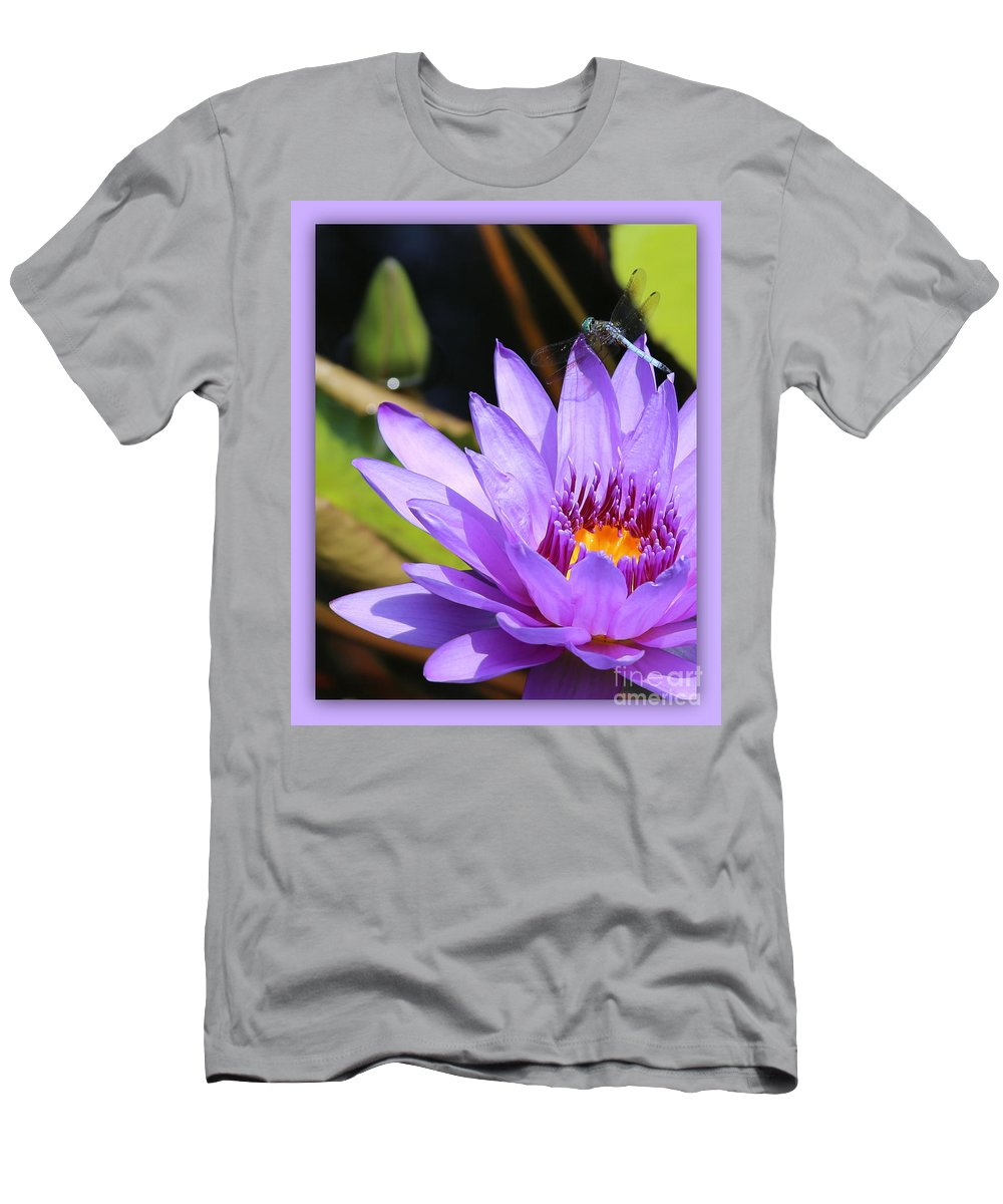 Dragonfly Men's T-Shirt (Athletic Fit) featuring the photograph Sweet Dragonfly On Purple Water Lily by Carol Groenen