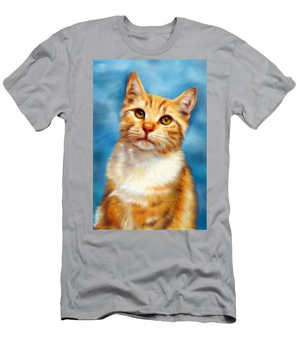 Cats Men's T-Shirt (Athletic Fit) featuring the painting Sweet William Orange Tabby Cat Painting by Michelle Wrighton