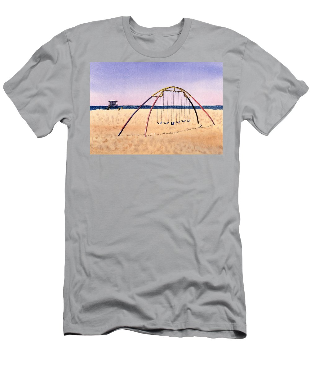 Swingset Men's T-Shirt (Athletic Fit) featuring the painting Swingset On Beach by Melinda Fawver