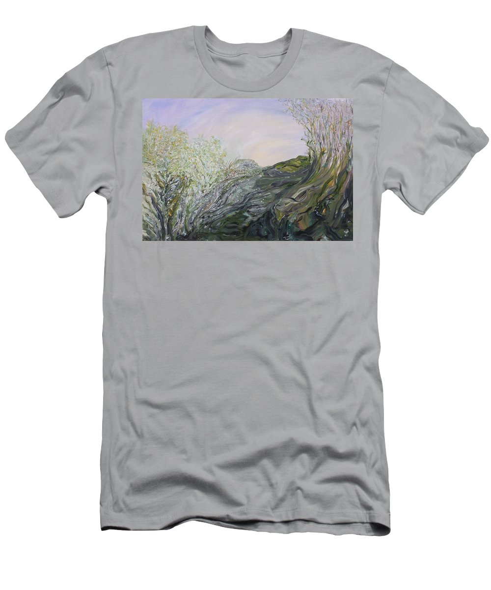 Whimsical Landscape Men's T-Shirt (Athletic Fit) featuring the painting Swirling In Grace by Sara Credito