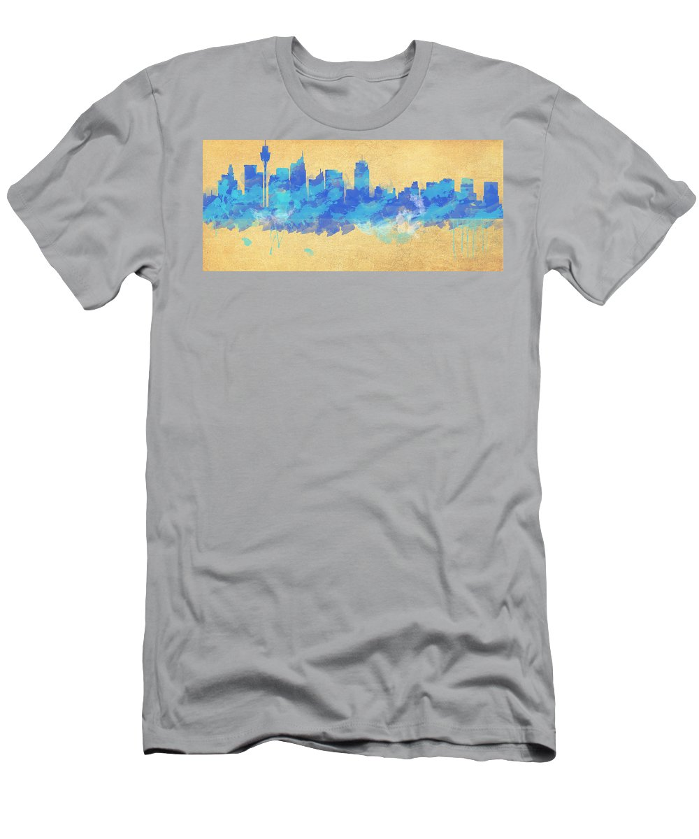 Wright Men's T-Shirt (Athletic Fit) featuring the digital art Sydney In Blue by Paulette B Wright