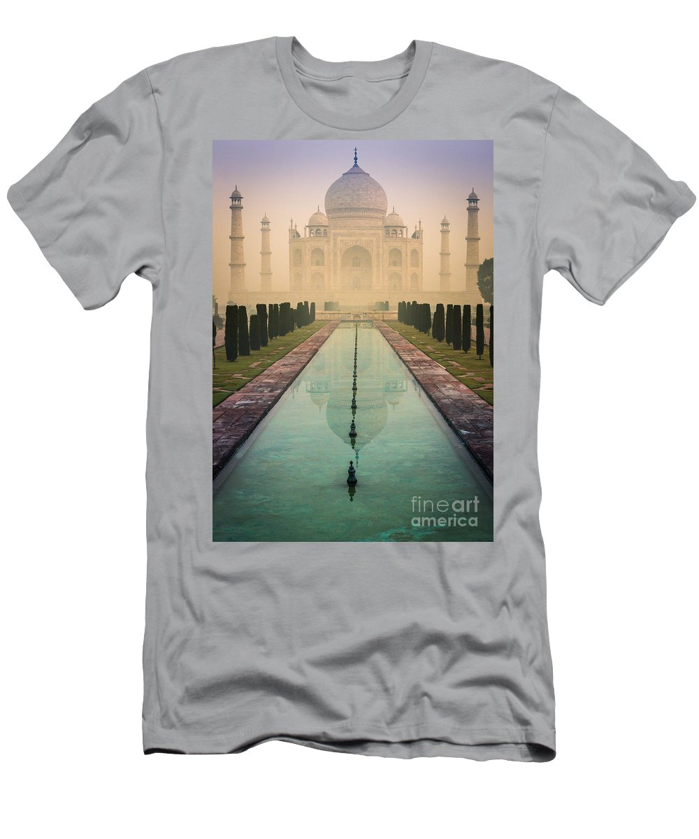 Agra Men's T-Shirt (Athletic Fit) featuring the photograph Taj Mahal Predawn by Inge Johnsson