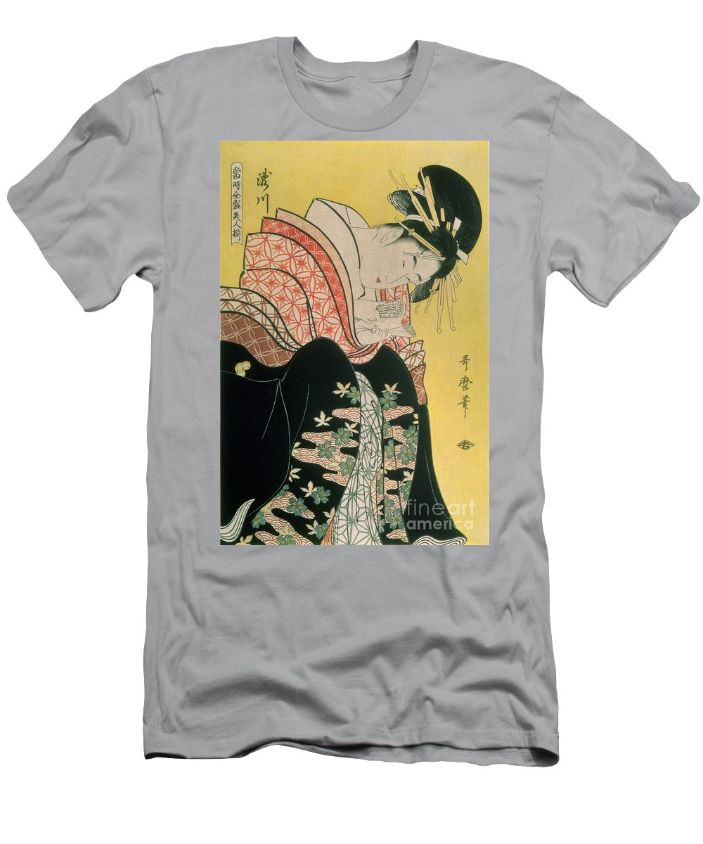 Tea Men's T-Shirt (Athletic Fit) featuring the painting Takigawa From The Tea House Ogi by Kitagawa Otamaro