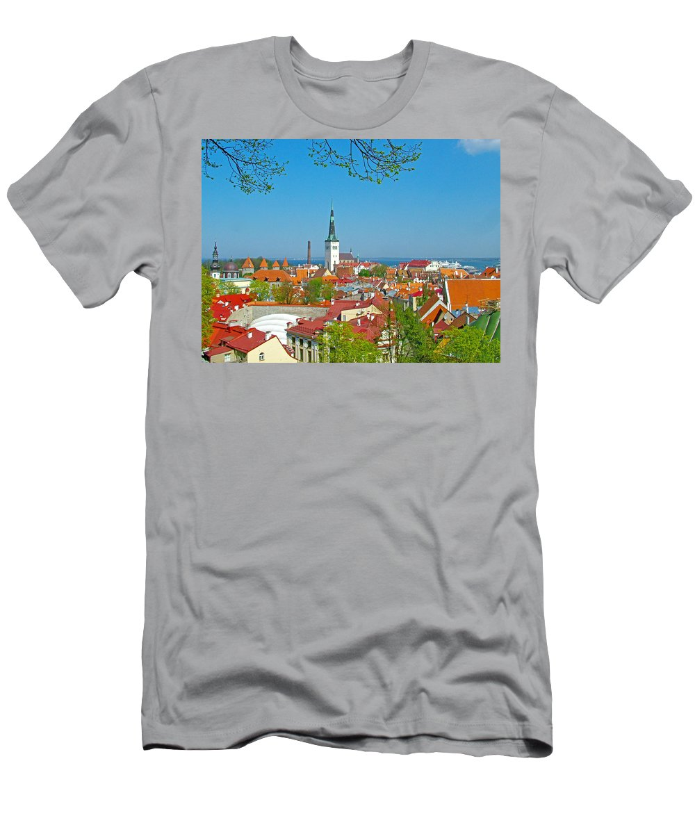 Tallinn From Plaza In Upper Old Town Tallinn Men's T-Shirt (Athletic Fit) featuring the photograph Tallinn From Plaza In Upper Old Town-estonia by Ruth Hager