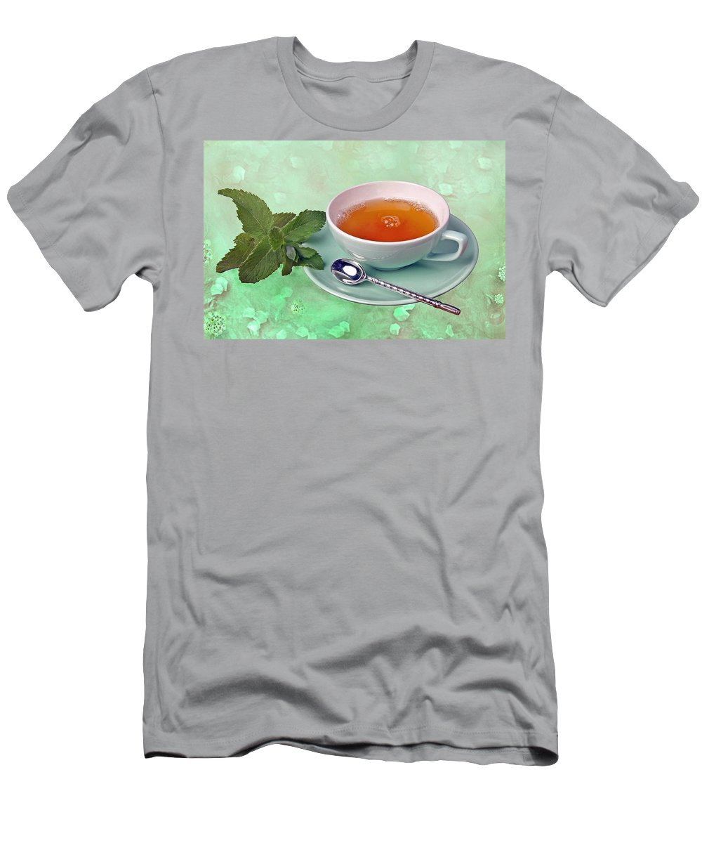 Tea Men's T-Shirt (Athletic Fit) featuring the photograph Teacup by Manfred Lutzius