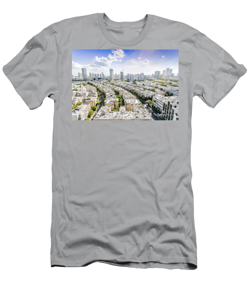 Elevated Men's T-Shirt (Athletic Fit) featuring the photograph Tel Aviv Israel Elevated View by Sv
