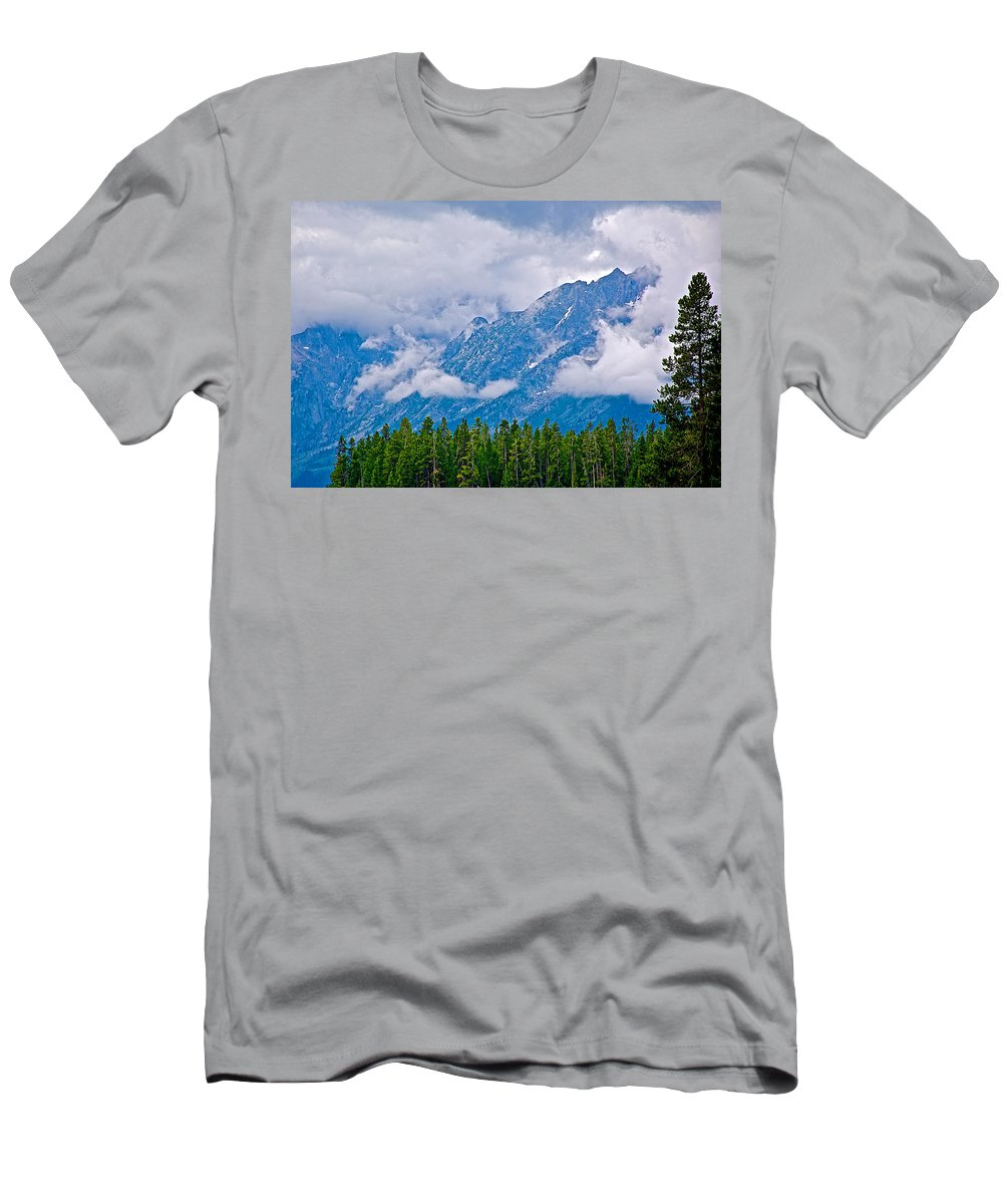 Teton Peaks Through Clouds In Grand Teton National Park Men's T-Shirt (Athletic Fit) featuring the photograph Teton Peaks Through Clouds In Grand Teton National Park-wyoming  by Ruth Hager