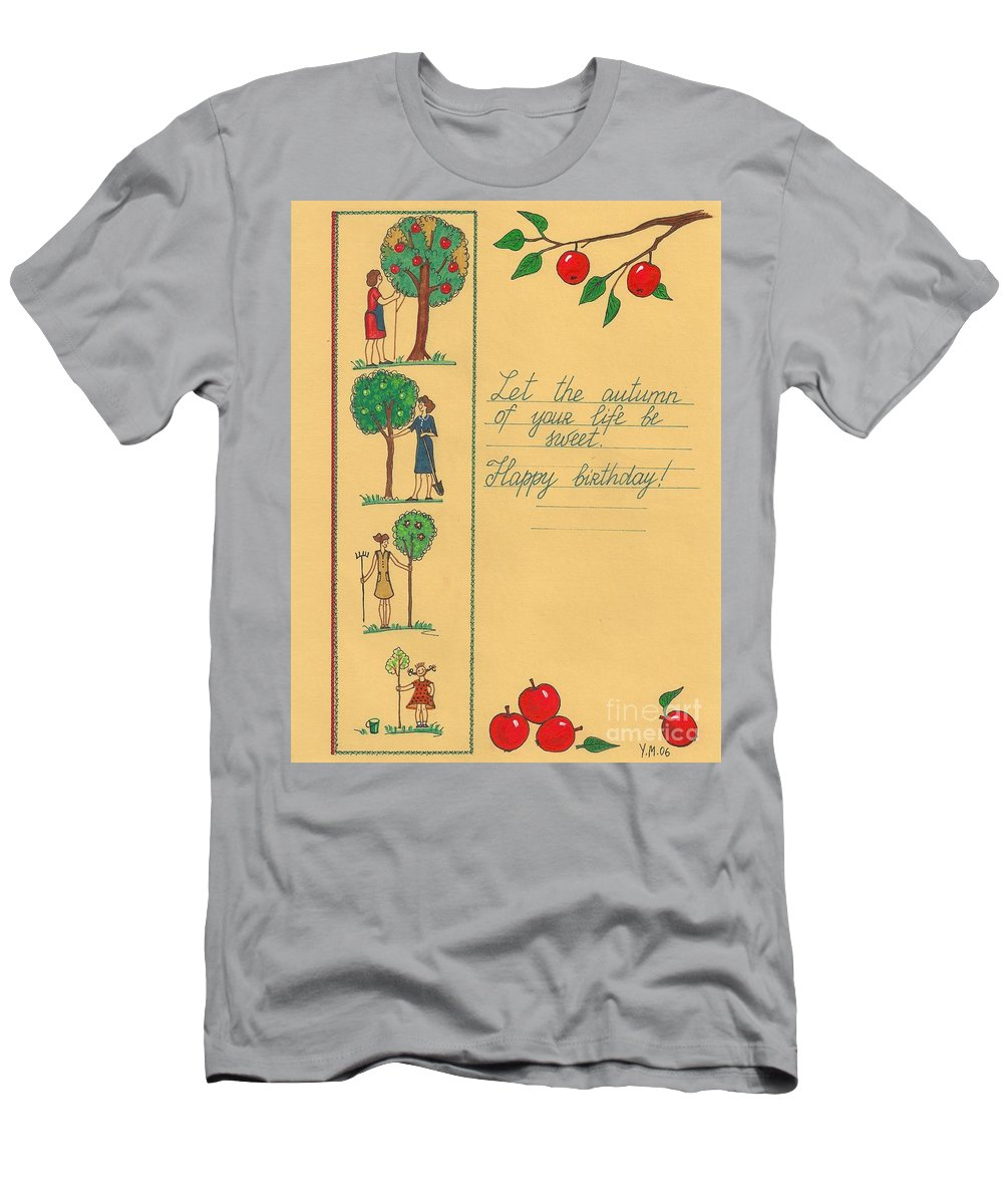 Print Men's T-Shirt (Athletic Fit) featuring the painting Thanks For Everything by Margaryta Yermolayeva